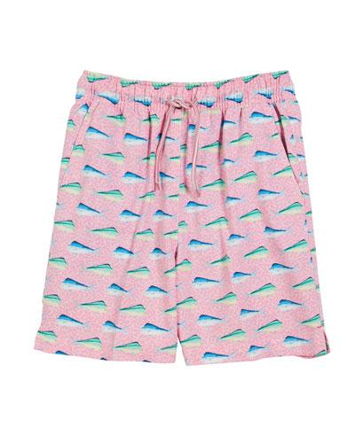 Mahi-Mahi Print Swim Trunks, Size XS-XL