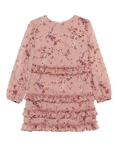 Ditsy Frill Floral Long-Sleeve Dress, Size 8-16