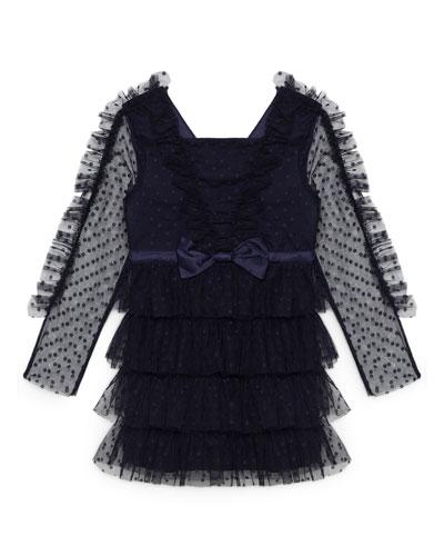 Hope Mesh Ruffle Dress, Size 8-16