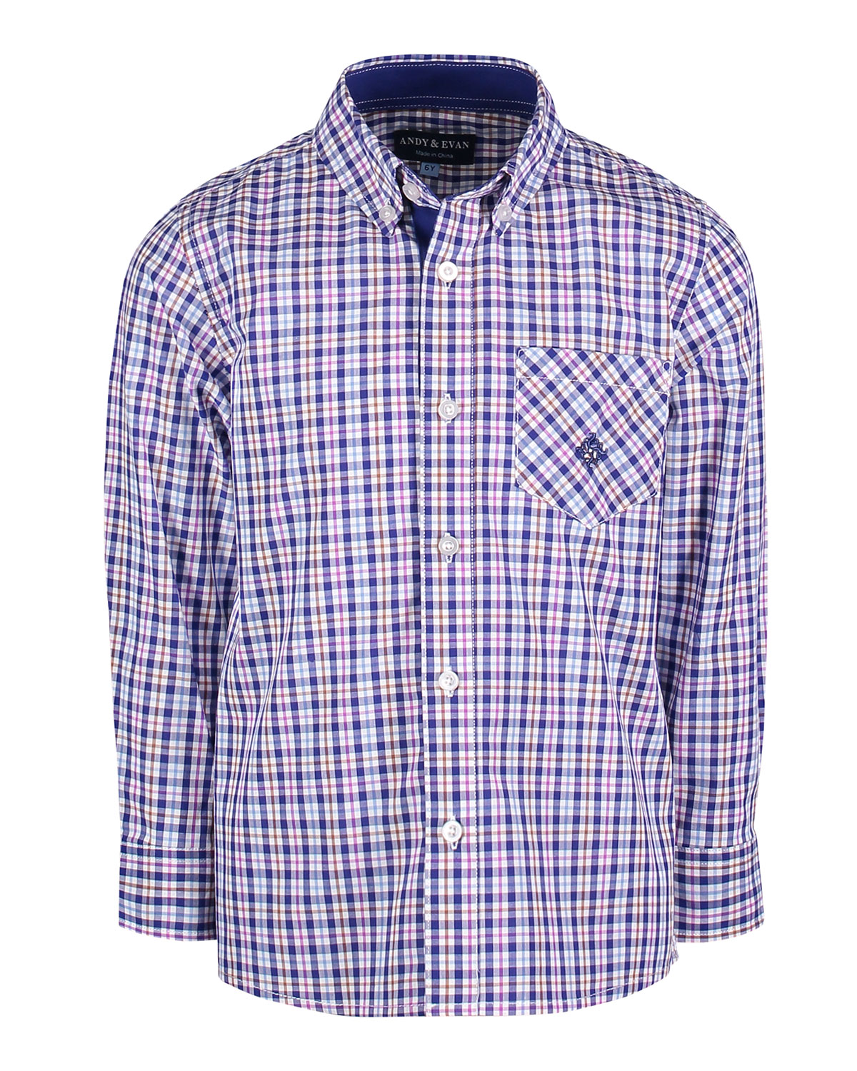 ANDY & EVAN Long-Sleeve Plaid Button-Down Shirt, Size 2-7 in Blue