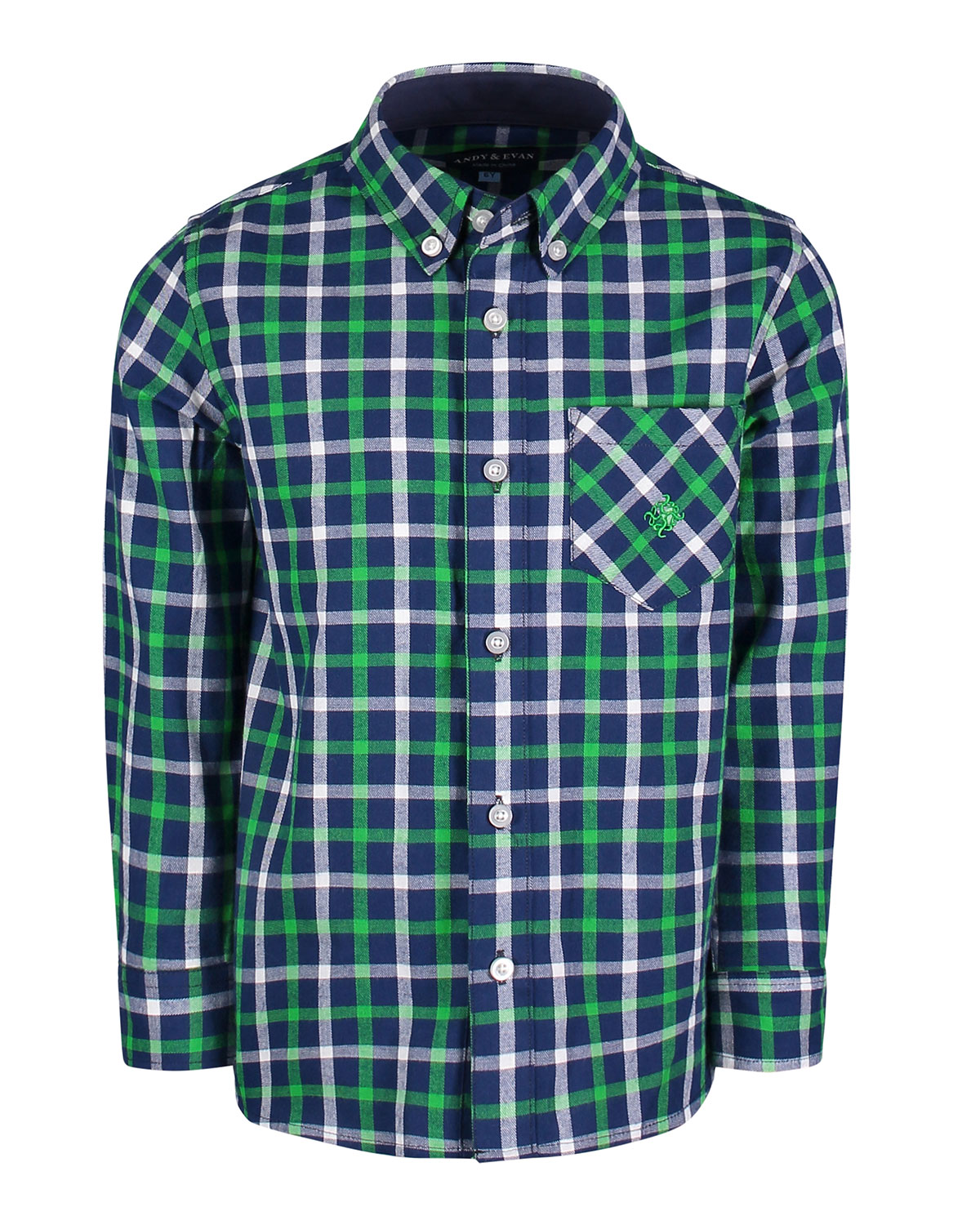 ANDY & EVAN Long-Sleeve Flannel Button-Down Shirt, Size 2-7 in Blue
