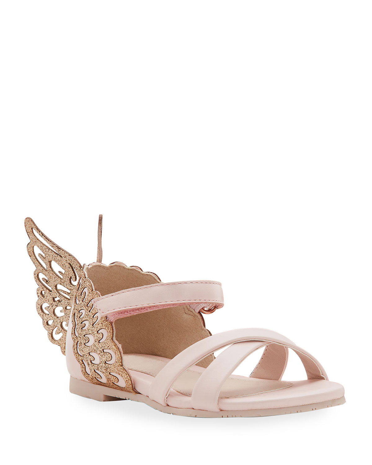 Evangeline Glittered Butterfly-Wing Leather Sandals, Toddler in Pink