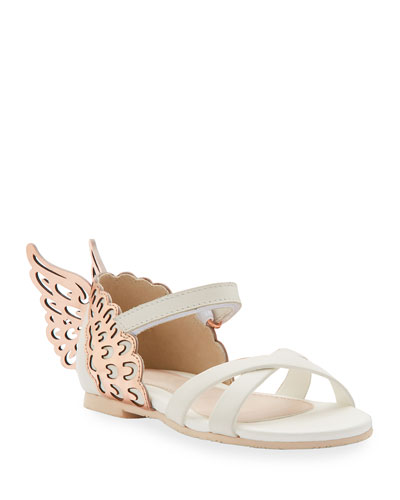 Evangeline Metallic Butterfly-Wing Leather Sandals, Toddler