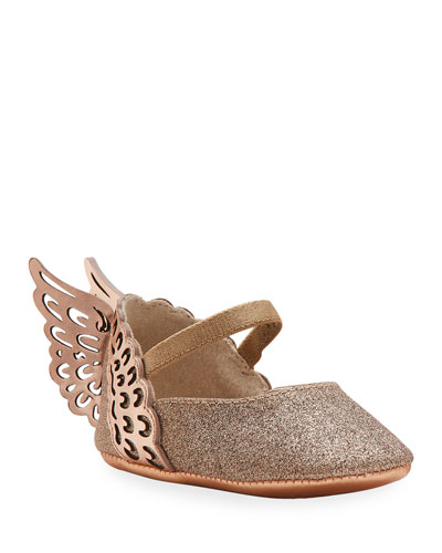 Evangeline Glittered Butterfly-Wing Flats, Baby