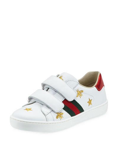 New Ace Bee Embroidery Leather Sneaker, Toddler/Kids