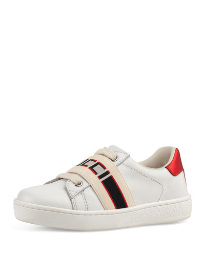 New Ace Gucci Band Leather Sneaker, Toddler