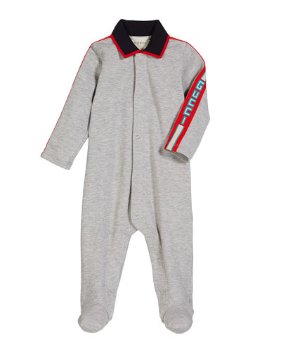 Collared Footie Pajamas w/ Logo Taping, Size 0-9 Months
