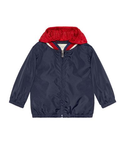 Logo-Back Hooded Nylon Jacket, Size 12-36 Months
