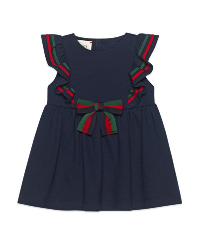 Ruffle-Trim Piquet Dress w/ Web Bow, Size 9-36 Months