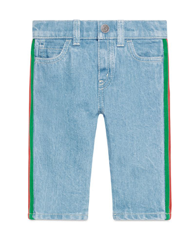 Tapered Denim Jeans w/ Web Trim, Size 6-36 Months