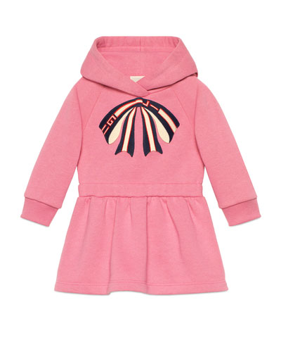 Long-Sleeve Sweatshirt Dress w/ Logo Bow Applique, Size 6-36 Months