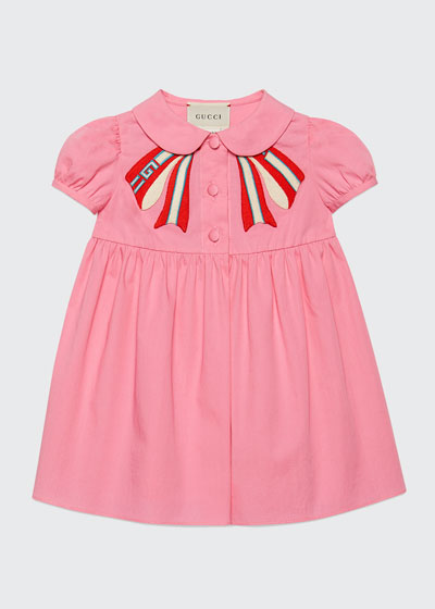 Peter Pan-Collar Dress w/ Logo Bow Applique, Size 3-36 Months