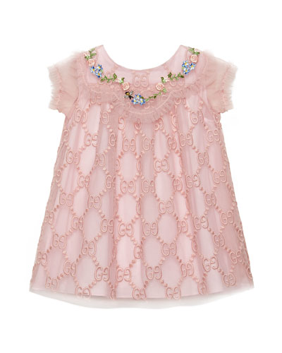 GG Supreme Embroidered Tulle Dress, Size 6-36 Months
