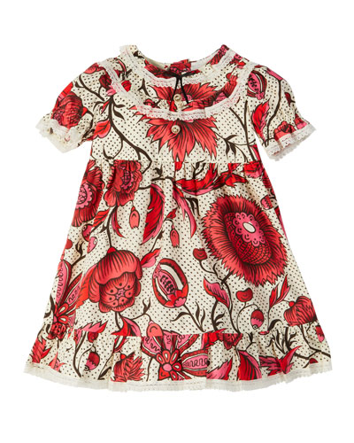 Floral Lace-Trim Puffy-Sleeve Dress, Size 6-36 Months