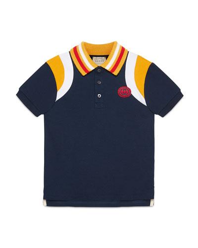Colorblock Polo Shirt w  Knit Collar, Size 4-12 7f7dda44e656