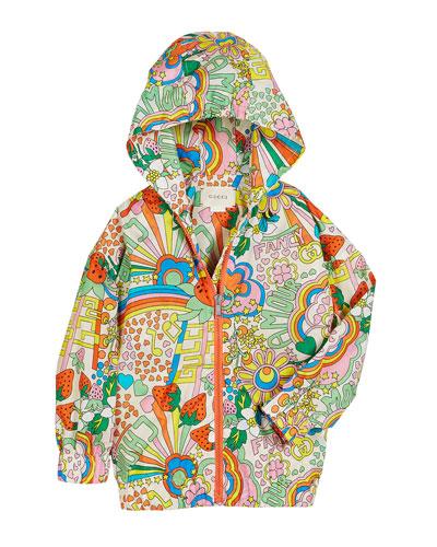 Rainbow Pop Print Hooded Nylon Jacket, Size 4-12