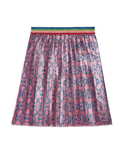 GG Supreme Metallic Pleated Skirt, Size 4-12