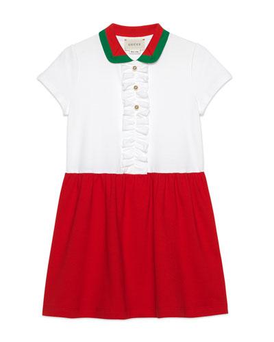 Two-Tone Ruffle-Trim Dress w/ Knit Collar, Size 4-12