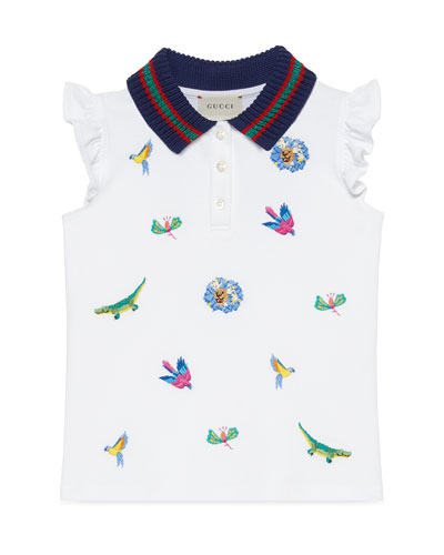 Animal Embroidered Polo Shirt w/ Knit Collar, Size 4-12