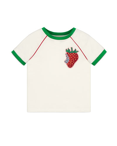 955186d26 Gucci Strawberry Patch T-Shirt, Size 4-12