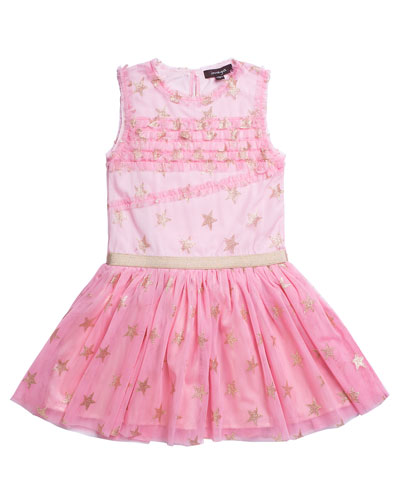 Glitter Star Ruffle-Trim Mesh Dress, Size 7-10