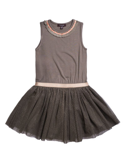 Solid Jersey & Glitter Mesh Dress, Size 7-14