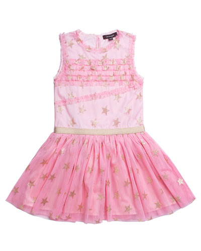 Glitter Star Ruffle-Trim Mesh Dress, Size 4-6