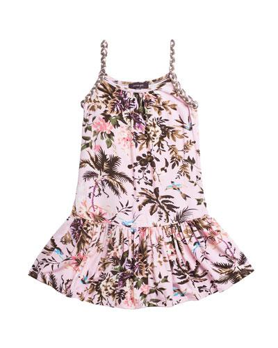 Botanical Leaf Printed Jersey Dress, Size 7-14