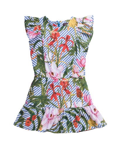 Botanical Floral & Stripe Printed Woven Dress, Size 4-6