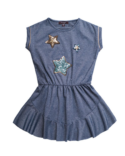 Solid Jersey Dress w/ Star Sequin Patches, Size 7-14