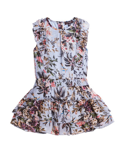 Floral-Print Chiffon Ruffle-Trim Dress, Size 7-14