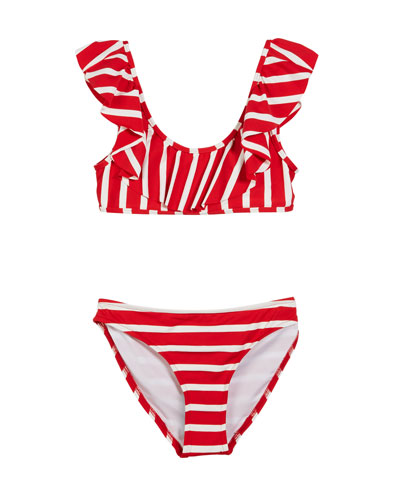 Striped Ruffle Pinafore Two-Piece Swimsuit, Size 7-16