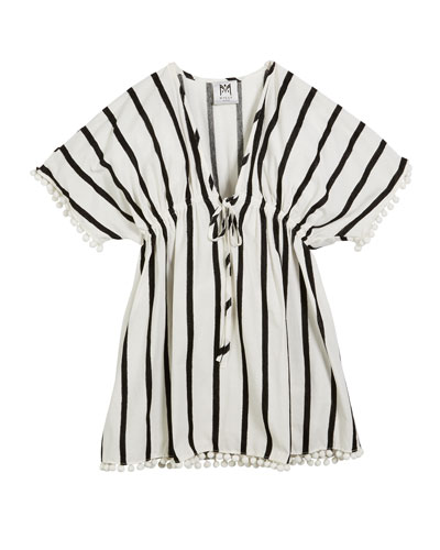 Milly Minis Stripe Embroidered V-Neck Swim Coverup, Size