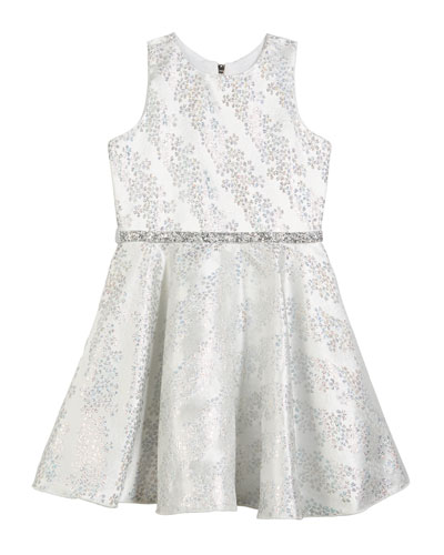 8b1498ec9913 Kelsey Iridescent Brocade Embellished Swing Dress, Size 7-16