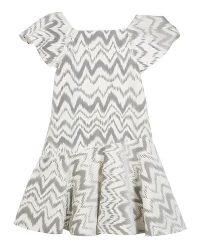 Kenzie Flocked Knit Zigzag Dress, Size 7-16