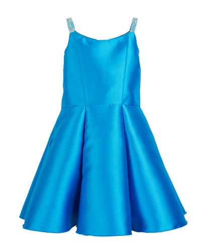 Jenna Matte Sateen Crystal-Strap Dress, Size 4-6X