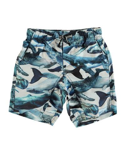 Nario Whale-Print Swim Trunks, Size 2T-10