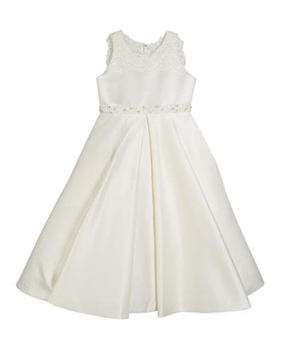 Lace-Trim Satin Dress, Size 4-14