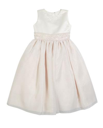 Satin & Organza Beaded Dress, Size 2-14