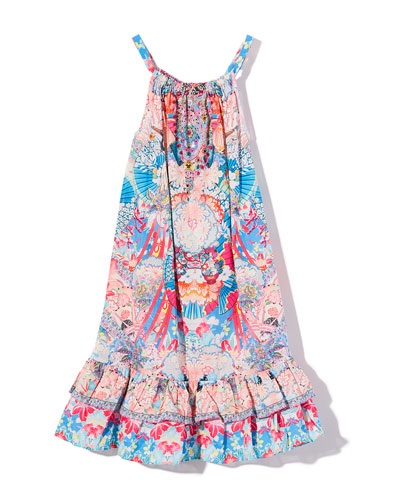 Patterned Frill-Hem Dress, Size 4-10