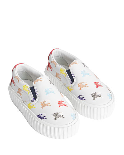 Erwin Leather Knight-Print Sneakers, Toddler