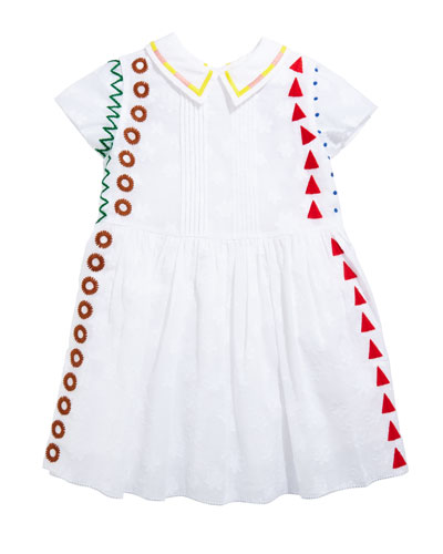 Embroidered Pintucked Short-Sleeve Dress, Size 3-14