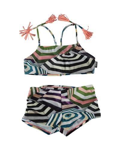 Nadetta Parasol-Print Sporty Bikini Swim Set, Size 3T-14