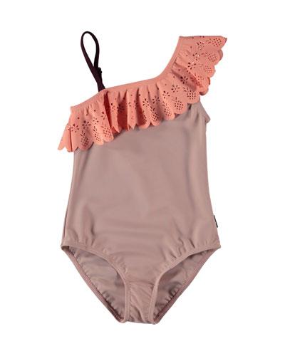 Net One-Shoulder Laser Cut-Trim One-Piece Swimsuit, Size 3-14