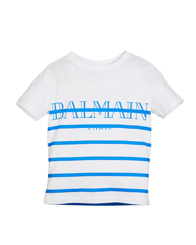 Striped Logo Short-Sleeve Tee, Size 12-16