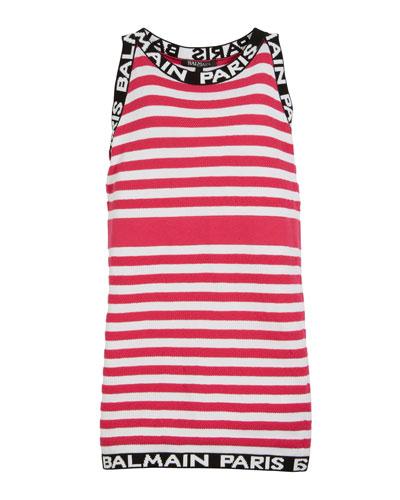 Striped Knit Sleeveless Dress w/ Logo Trim, Size 4-10