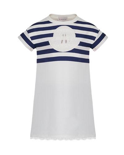 Short-Sleeve Striped Upper Dress, Size 8-14
