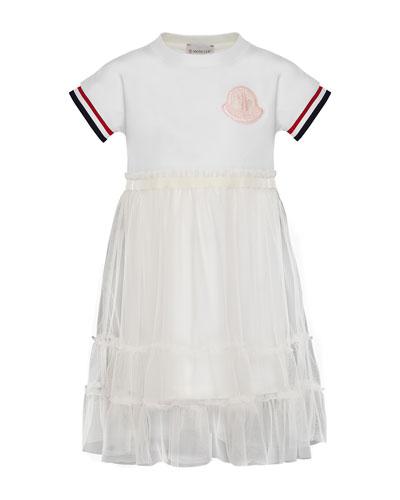 Moncler Short-Sleeve Tulle Overlay Dress, Size 4-6