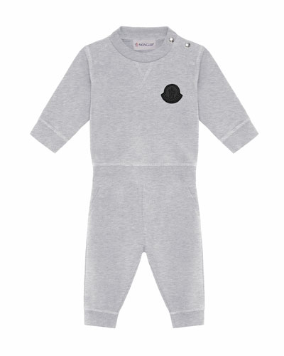 Moncler Heathered Sweatshirt w/ Matching Sweatpants, Size 6M-3
