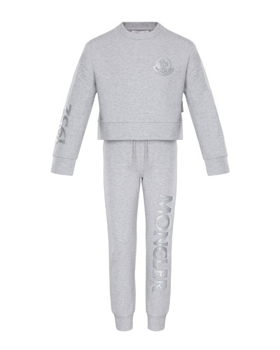 Heathered Sweatshirt w/ Matching Logo Sweatpants, Size 8-14